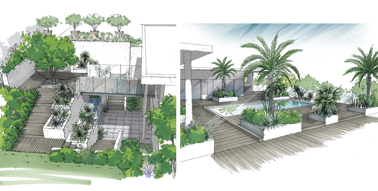 Jardin deux niveaux marseille st julien architecte for Creation de jardin contemporain