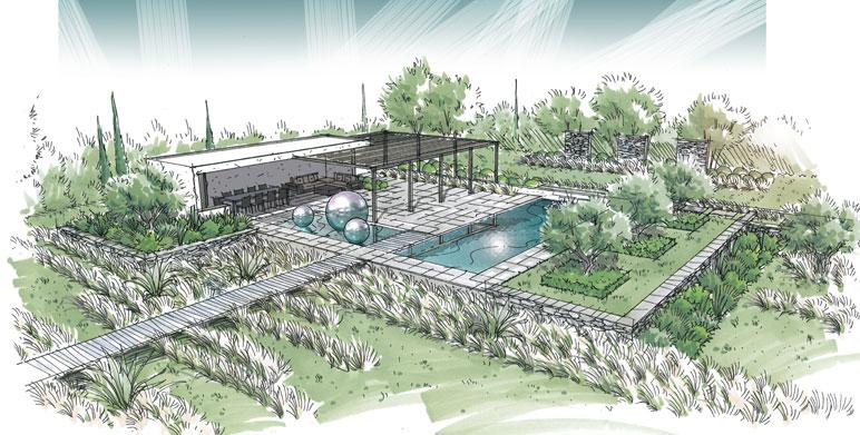 Jardin contemporain, dans le pays d'Arles