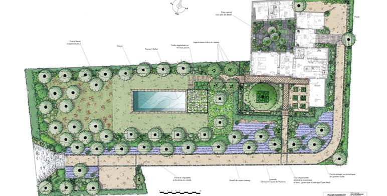 R alisations architecte paysagiste thomas gentilini for Plan amenagement jardin rectangulaire
