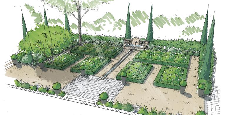 Jardin d'une Bastide aixoise du XVIIe siècle, Quartier des Pinchinats – Aix en Provence