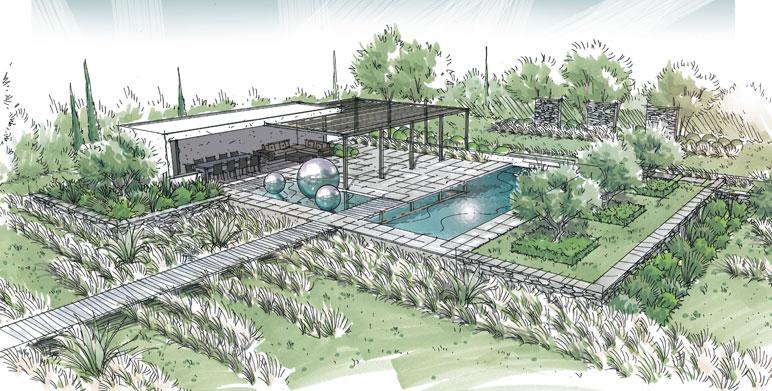 Jardin contemporain sur la plaine de La Crau