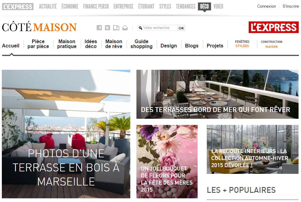 En Une du site Cotemaison.fr