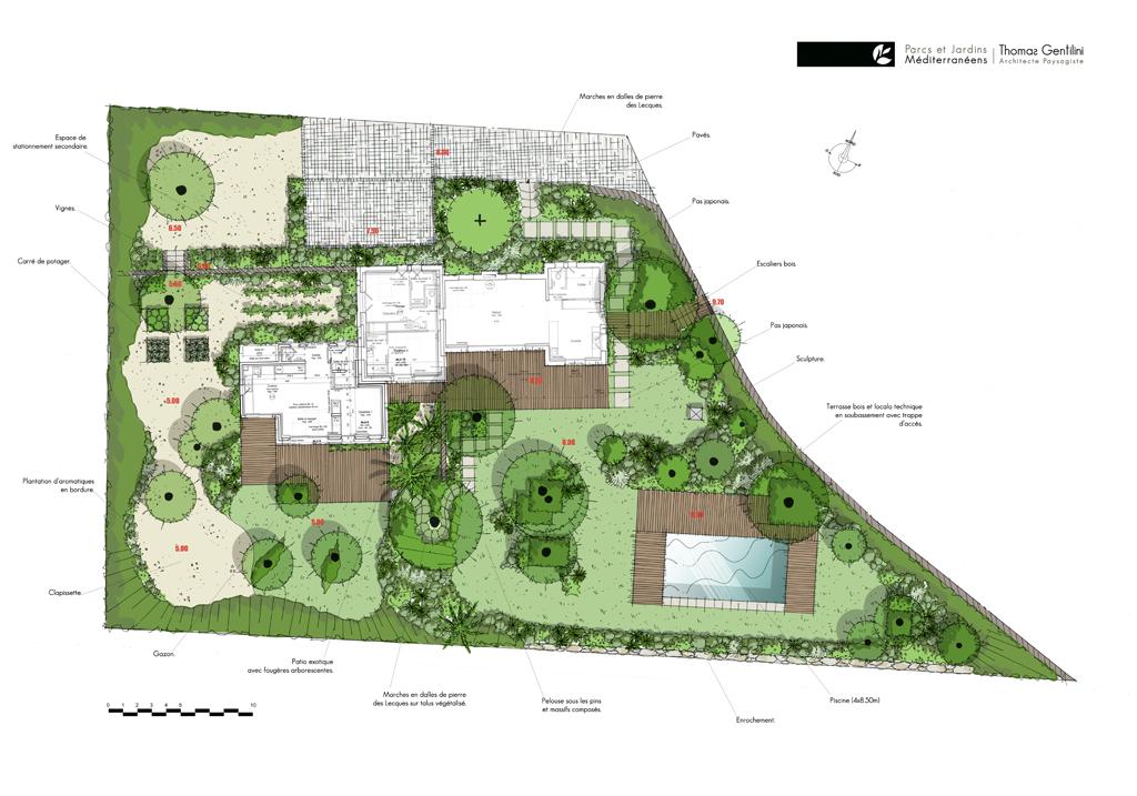 Conception des aménagements extérieurs d'un jardin naturel dans le domaine du Gaou Bénat. (Var)