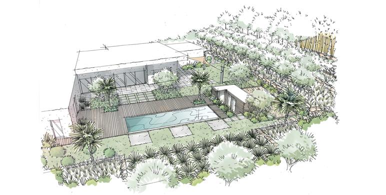 Conception d'un jardin moderne à Bouc-Bel-Air près d'Aix-en-Provence